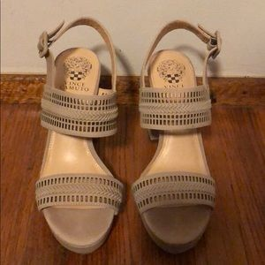 Vince Camuto Nude Block Sandals